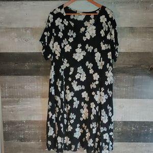 Woman Within 28W gauze floral A-line dress